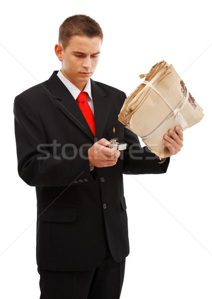 Fiatalember égő akta mappa fiatal üzletember Stock fotó © erierika
