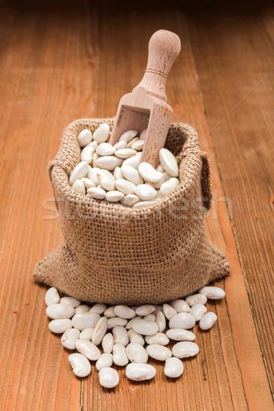 Haricot beans in burlap bag Stock photo © erierika