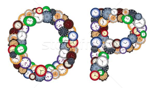 Characters O and P made of various clocks Stock photo © erierika