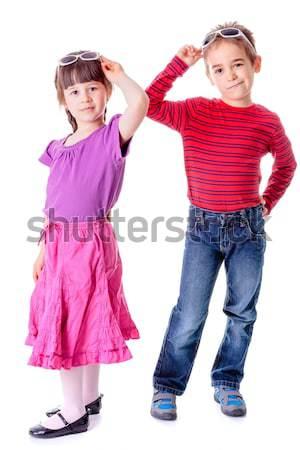 Boy pulling girl's hair Stock photo © erierika