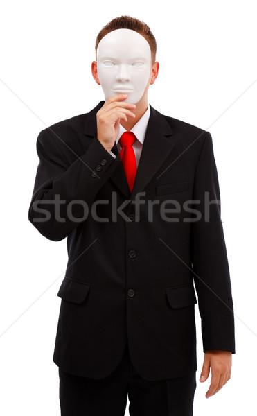 Uomo dietro maschera uomo d'affari faccia bianco Foto d'archivio © erierika