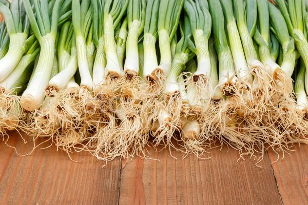 újhagyma fa deszka tavasz étel háttér zöldségek Stock fotó © erierika