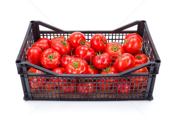 Paradicsomok műanyag láda friss érett étel Stock fotó © erierika
