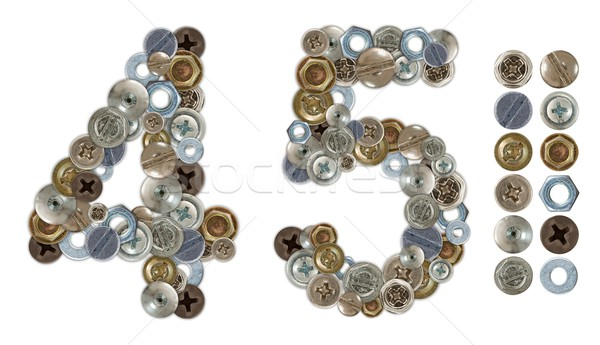 Numbers 4 and 5 made of various screw heads Stock photo © erierika