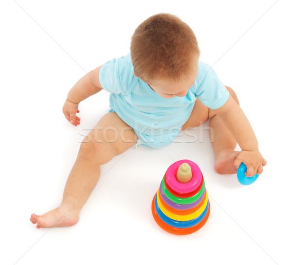 играет ребенка мало мальчика красочный кольца Сток-фото © erierika