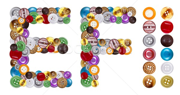 Characters E and F made of clothing buttons Stock photo © erierika