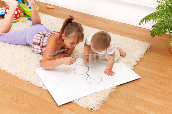 Children drawing in room Stock photo © erierika
