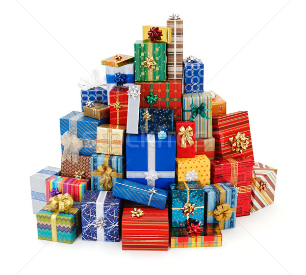 Big stack of colorful Christmas presents Stock photo © erierika