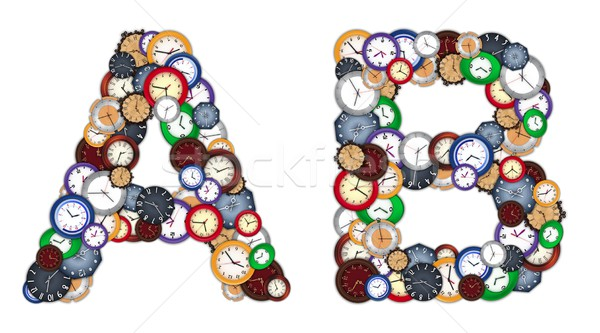 Characters A and B made of various clocks Stock photo © erierika