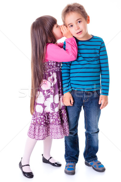 Little girl whispering into boy's ear Stock photo © erierika