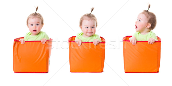 Collage of pretty baby girl in boxes Stock photo © erierika