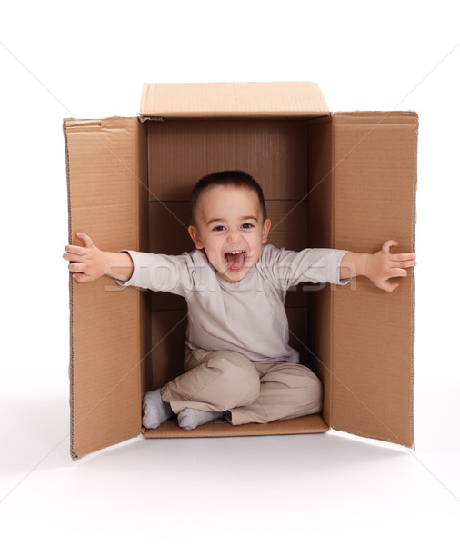 Stock photo: Happy little boy in cardboard box