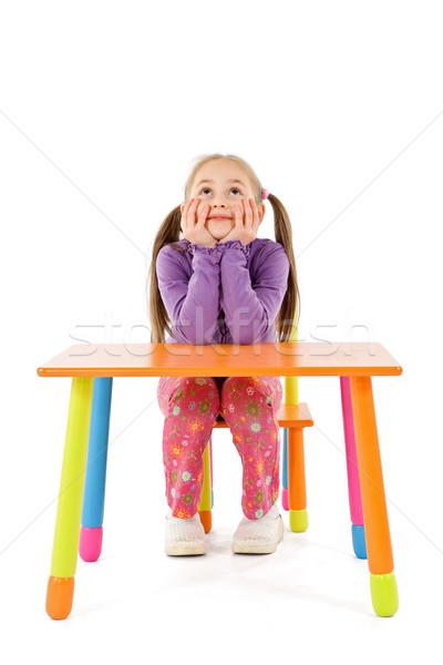 思考 少女 かなり 座って 子供 ストックフォト © erierika