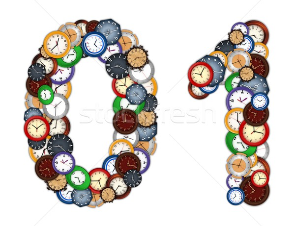 Foto stock: Números · relógios · projeto · fundo · metal