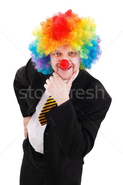üzletember visel színes bohóc paróka mosolyog Stock fotó © erierika