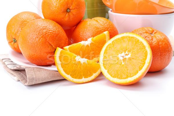 Iştah açıcı portakal plaka yakın görmek meyve Stok fotoğraf © erierika