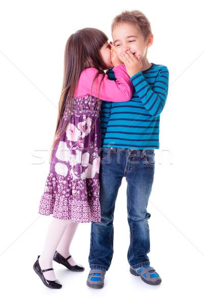 Little girl meninos ouvido interessante segredo Foto stock © erierika