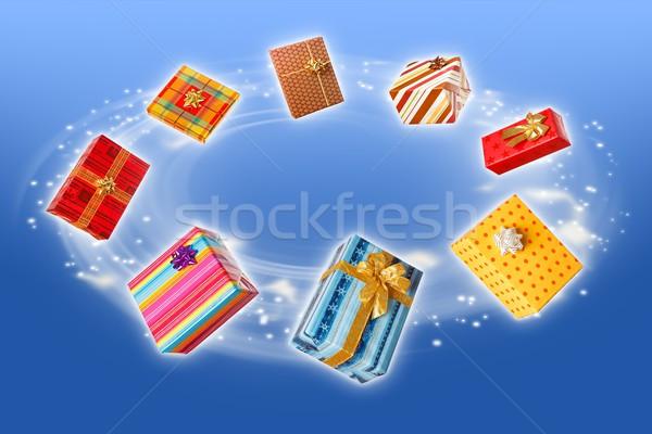 Ajándékok repülés körül színes ajándék dobozok Stock fotó © erierika