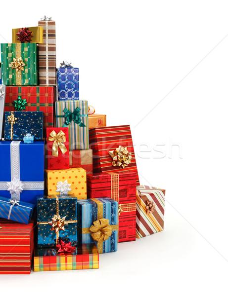 Stock fotó: Nagy · boglya · színes · karácsony · ajándékok · piros