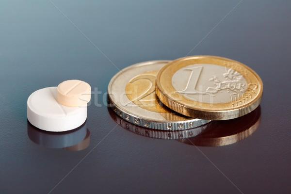 Stacked pills near pair of euro coins Stock photo © erierika