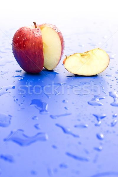 Stock fotó: Alma · szelet · piros · alma · nedves · kék · felület