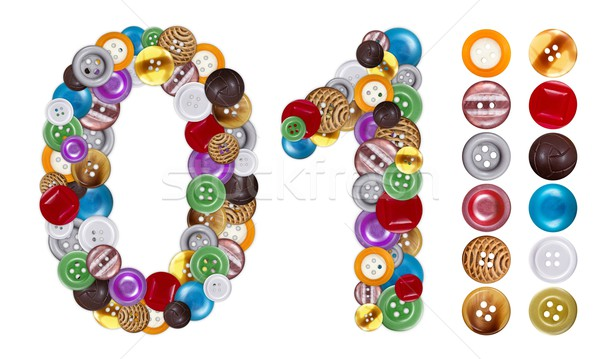 Numbers 0 and 1 made of clothing buttons Stock photo © erierika