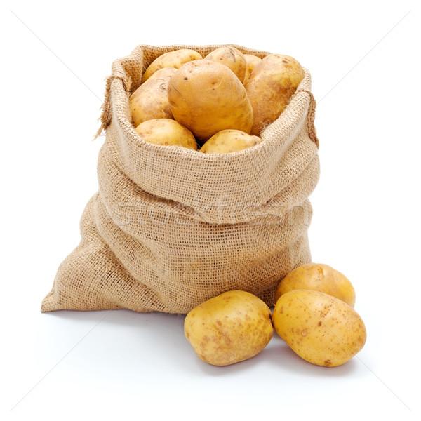 Blanco patatas arpillera frescos Foto stock © erierika