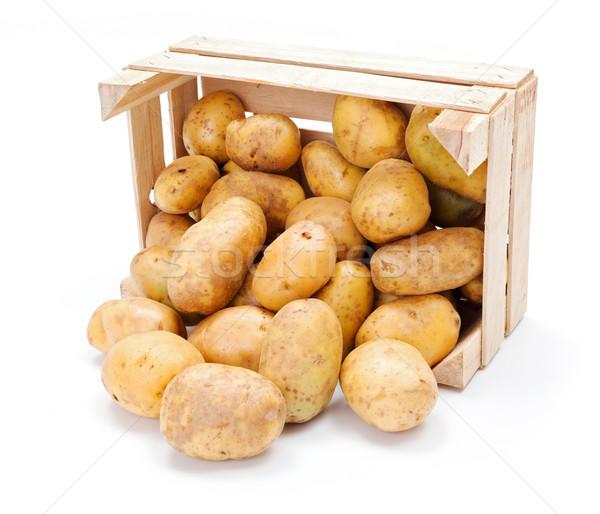 Fehér krumpli fából készült láda friss termény Stock fotó © erierika