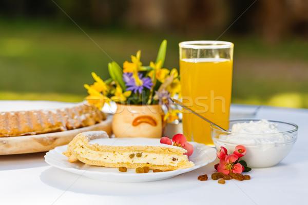 Curd cheese pie slice breakfast Stock photo © erierika