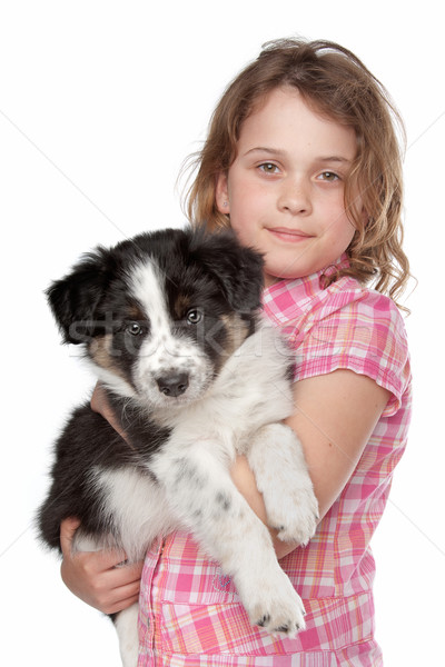 Fille border collie chiot blanche chien enfant Photo stock © eriklam