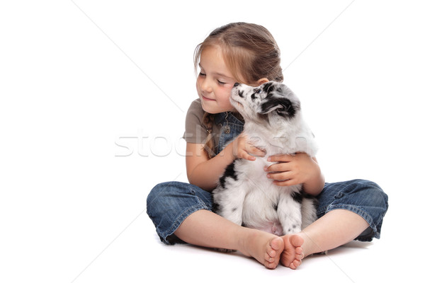 little girl and a puppy Stock photo © eriklam
