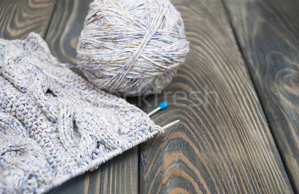 knitting on rustic wooden background Stock photo © Es75
