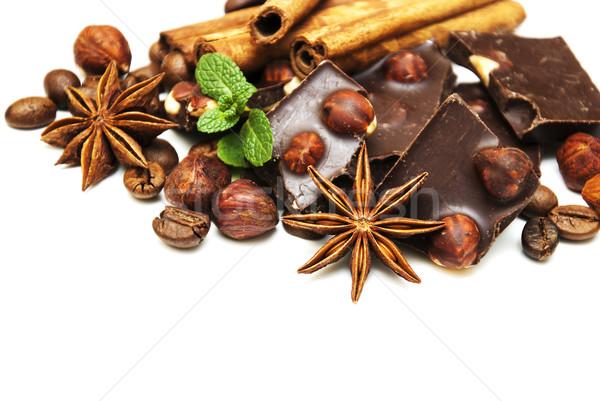 Pure chocola noten specerijen witte voedsel chocolade Stockfoto © Es75