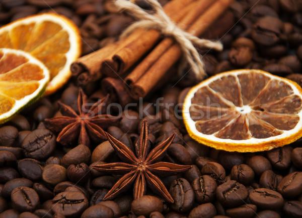 Stock fotó: Kávé · fűszer · fahéj · csillag · ánizs · száraz