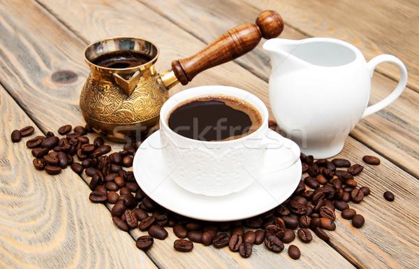 Kávéscsésze kávé tejesflakon fából készült étel terv Stock fotó © Es75