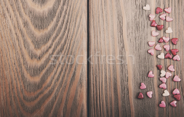 Red hearts shapes - vintage toning Stock photo © Es75