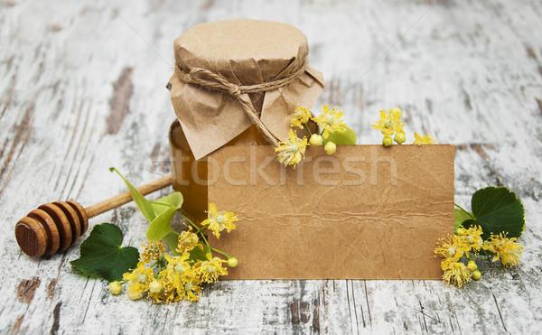Jar miodu kwiaty tag Zdjęcia stock © Es75