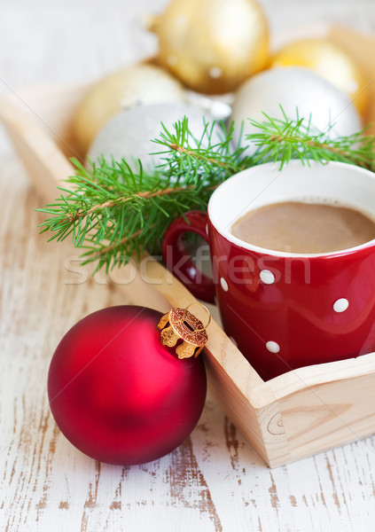 Рождества капучино Кубок праздник дерево зима Сток-фото © Es75