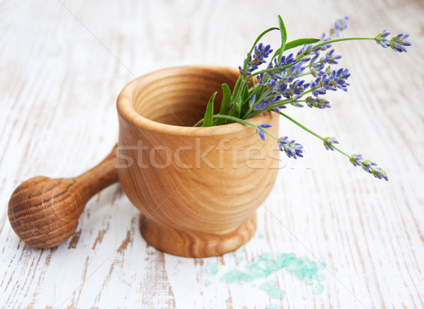Mortar and pestle with lavender Stock photo © Es75