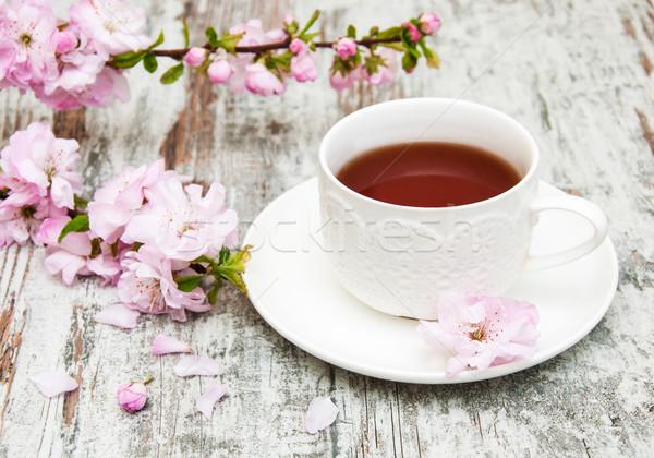 Cup tè sakura fiore rosa vecchio Foto d'archivio © Es75