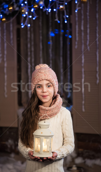 pretty little girl with flashlight Stock photo © Es75