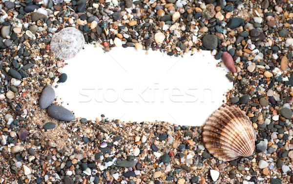 чистый лист бумаги песчаный пляж ракушки бумаги природы лет Сток-фото © Es75