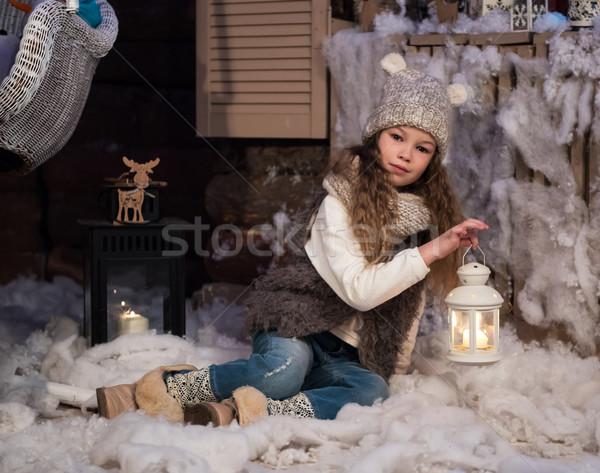 かなり 女の子 懐中電灯 クリスマス 時間 少女 ストックフォト © Es75