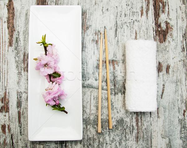 plate, chopsticks and sakura branch Stock photo © Es75