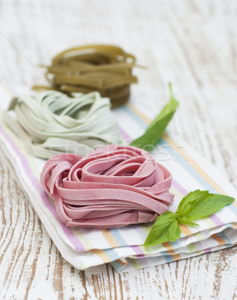 Tagliatelle İtalyan makarna ahşap gıda spagetti Stok fotoğraf © Es75