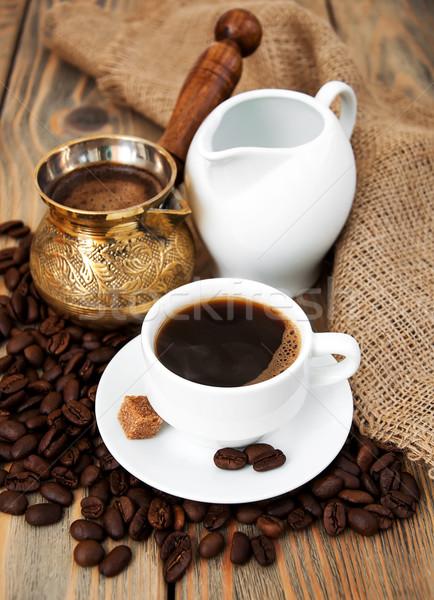Kávéscsésze kávé tejesflakon étel terv háttér Stock fotó © Es75