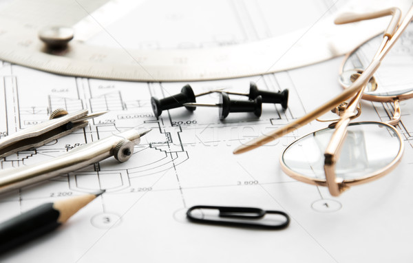 Photo stock: Architecture · blueprints · détail · dessin · outils · papier