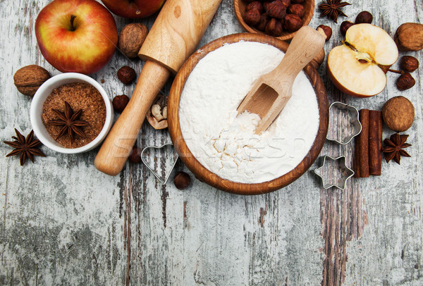 Ingrediënten appeltaart rode appel boter meel bruine suiker Stockfoto © Es75