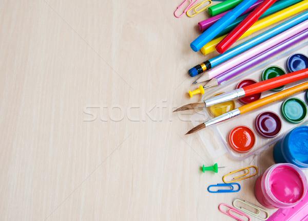 Kantoor schoolbenodigdheden kleurrijk potloden school Stockfoto © Es75