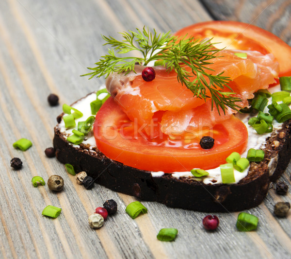 sandwich with smoked salmon and tomato  Stock photo © Es75
